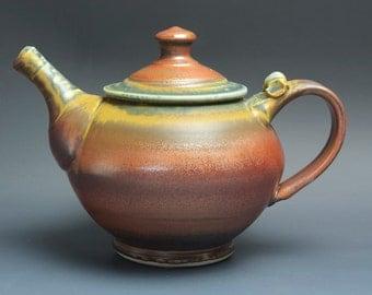 Stoneware teapot, pottery tea pot, ceramic teapot brick red 36 oz 3492