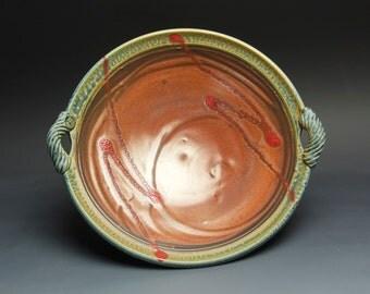 Handmade pottery serving platter shallow stoneware fruit serving bowl 3127