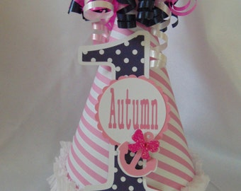 Nautical pink and navy hat with anchor accents-1st birthday-party hat-sailor birthday-