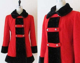 40% OFF SALE Vintage 1960's Red Coat / Winter Wool Princess Coat / Black Faux Fur Trim Collar & Sleeve Cuffs / Double Breasted