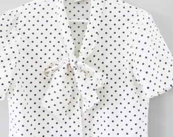Vintage 1980's Polka Dot Blouse / Retro Black and White Neck Tie Woman's Top Size Medium