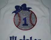 Baseball Sister Tee or Tank--sparkle design and personalized with your favorite players #