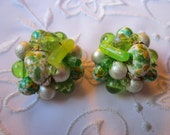 Vintage Gold Tone Dark and Light Green Glass and Plastic Beaded Clip On Earrings from Hong Kong