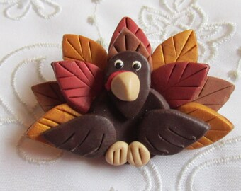 Vintage Thanksgiving Wooden Turkey Pin in Brown, Brick Red, Gold and Dark Brown