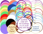 Scallop Edge Circles, Digital PNG Clip Art, 300 dpi, Instant Digital Download