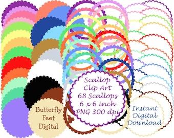 Scallop Circles PNG Clip Art, PNG Clipart Frames, Printable Scrapbook Elements, Card Making, Instant Download