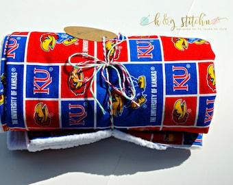 KU Blanket, Stroller Blanket, Baby blanket, ready to ship