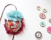 Fall Finale- burgundy aqua coral and brown rosette and burlap fall headband