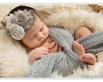 Sparkle & Shine- white and silver chiffon and rosette collage headband with bow