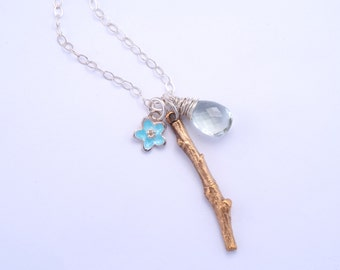 Bronze Branch and Gemstone Necklace
