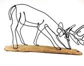 Grazing Buck Wire Sculpture, Deer Wire Sculpture, Deer Wire Art, Trophy Buck Wire Sculpture, 262337126