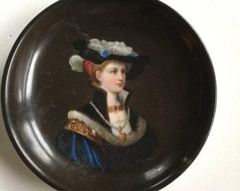 Antique Victorian Hand Painted Portrait Plate