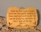 Psalm 24:4-5 Wood Plaque with Stand