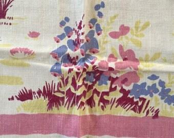 Vintage Wilendur Pride of Flanders Linen Pink Flower Floral Tablecloth