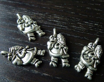Destash (4) Santa Claus Charms silver walking Father Christmas - for pendants, jewelry making, crafts, scrapbooking