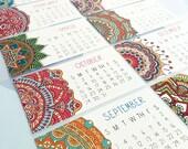 2017 Calendar, Set of TWO, Mandala, Mini Calendar, Business Card Calendar