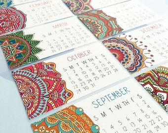 2018 Calendar, Set of TWO, Mandala, Mini Calendar, Business Card Calendar