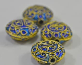 Cloissone dark blue disks, gold filled, 14x7mm - #1357