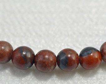 Red picture jasper round beads, 4mm - #1760