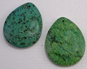 Chrysocolla jasper large teardrop pendant, 34x44mm - #1896