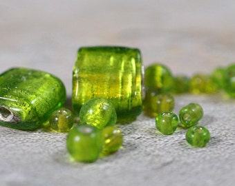 Lime green glass squares with spacers, #262