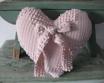 Handmade Vintage Chenille Fabric Heart Shape Pillow