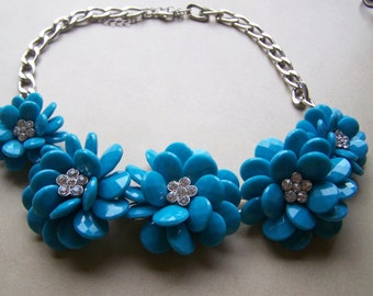 Large Blue flower with Rhinestone Center Necklace Tuquoise Silver