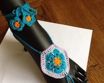 African Flower Barefoot Crochet Sandals