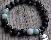 Diffuser Bracelet with 'believe' Charm and Natural Stones -Stretch Essential Oil Diffusing Bracelet with Lava Beads
