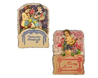 Vintage Valentine Card, Fold Out Valentine, German Valentine, Embossed Die Cut