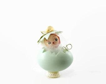 Vintage Easter Egg Decoration, Peek A Boo Egg, Pastel Blue Plastic Egg, Cute Easter Decoration, Pastel Spring Decoration