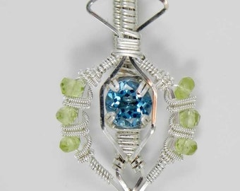 Faceted Swiss Blue Topaz and Micro Faceted Peridot Argentium Sterling Silver Wire Wrap Pendant