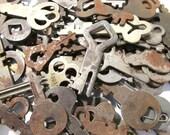 VINTAGE Keys One Hundred (100) Vintage SKELETON Keys Flat Skeletons Assorted Lot Steampunk Jewelry Assemblage Scrapbook Art Supplies (L119)