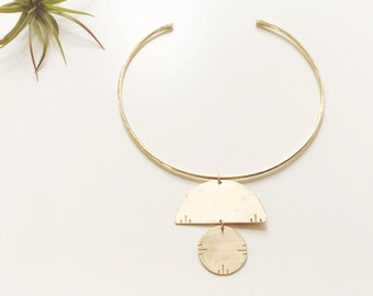 NAZCA Collar / Gold Choker Necklace Neck Cuff / Minimal Modern Jewelry