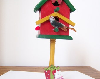 Decorative Holiday Birdhouse - Winter/Seasonal Decor - Red & Green - Hand Painted/Decorated - Presents,Wreath, Bear - Wood Accent Piece