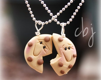 Cookie necklace, Polymer Clay Cookie Necklace, Best Friend Necklace Pendants Cookies
