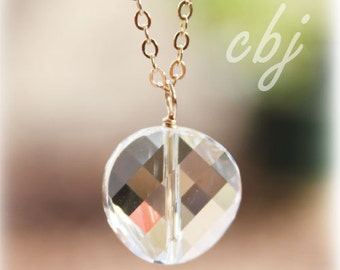 Crystal Necklace, Crystal Clear Round Charm Necklace