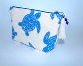 Blue Sea Turtle Canvas Cosmetic Bag with Beaded Tassel Zipper Pull