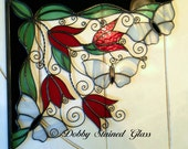 Stained Glass & Wire Window Corners - Red Tulips White Butterflies