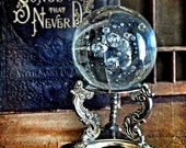RESERVED Large Crystal Ball & Stand Vintage Halloween Gypsy Fortuneteller