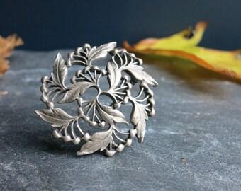 Silver leaf pin   Fall brooch   Autumn leaf brooch   Brooch bouquet