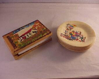 Souvenir Note Pad Costa Rica and Bamboo Coaster Set Trinidad Tobago
