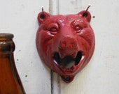 Cast iron BEAR Bottle Opener RED distressed Wall mount  Bar Kitchen Garage Man cave