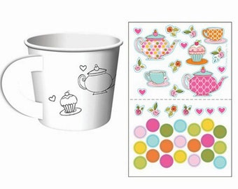 Tea Time Party Cups with Stickers for decorating-set of 6