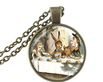 Alice in Wonderland Mad Hatter March Hare Bronze Pendent