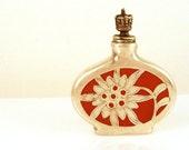 Vintage German Porcelain Crown Top Perfume Scent Bottle with Silver Overlay -  Orange Flower Snuff Bottle