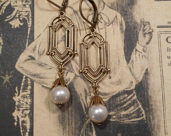 Art Deco Wedding Earrings - Great Gatsby Jewelry - Miss Fisher Earrings - 1920s Jewelry - Downton Abbey Jewelry - Womens Jewelry