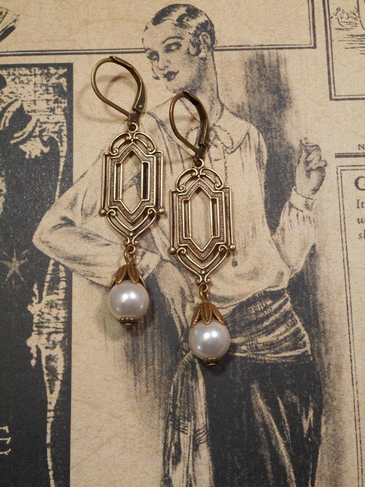 art deco wedding earrings pearl earrings great gatsby