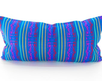 Mexican embroidered pillow, Tribal pillow, Mexico Pillow Blue lumbar bohemian decor long Lumbar pillow, Pillowcase aztec, Boho room Decor,
