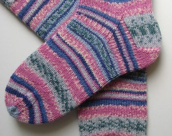 hand knitted womens wool socks, UK 6-8 US 8-10, ladies socks, multicolored socks, knitted socks, gift for women, pink blue socks, fairisle